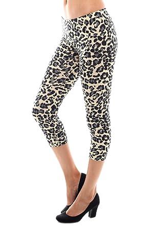 3c7d3a8a57789 Bozzolo Womens Leopard Print Cropped Capri Light Leggings at Amazon ...