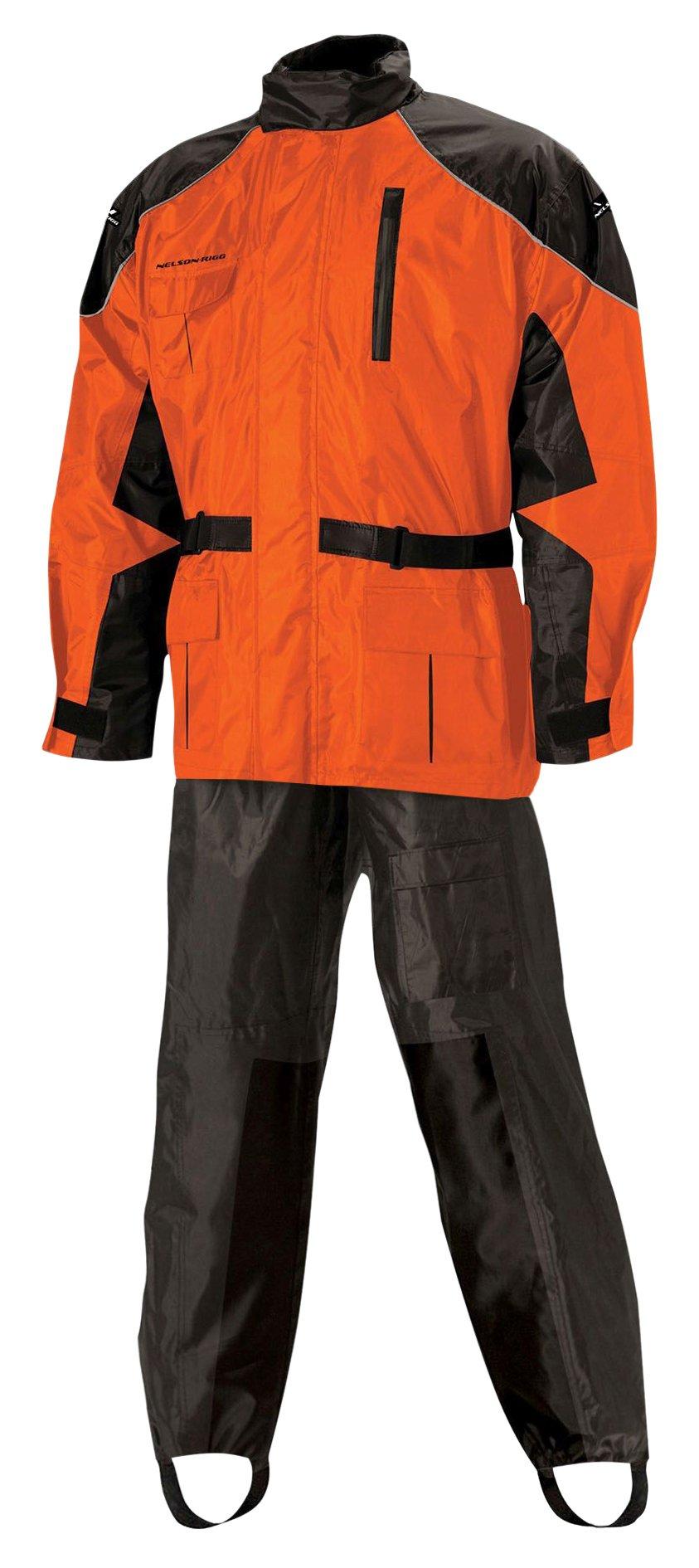 Nelson Rigg AS-3000 Unisex Adult AS-3000-ORG-05-XXL Aston Motorcycle Rain Suit 2-Piece, (Orange, XX-Large), X