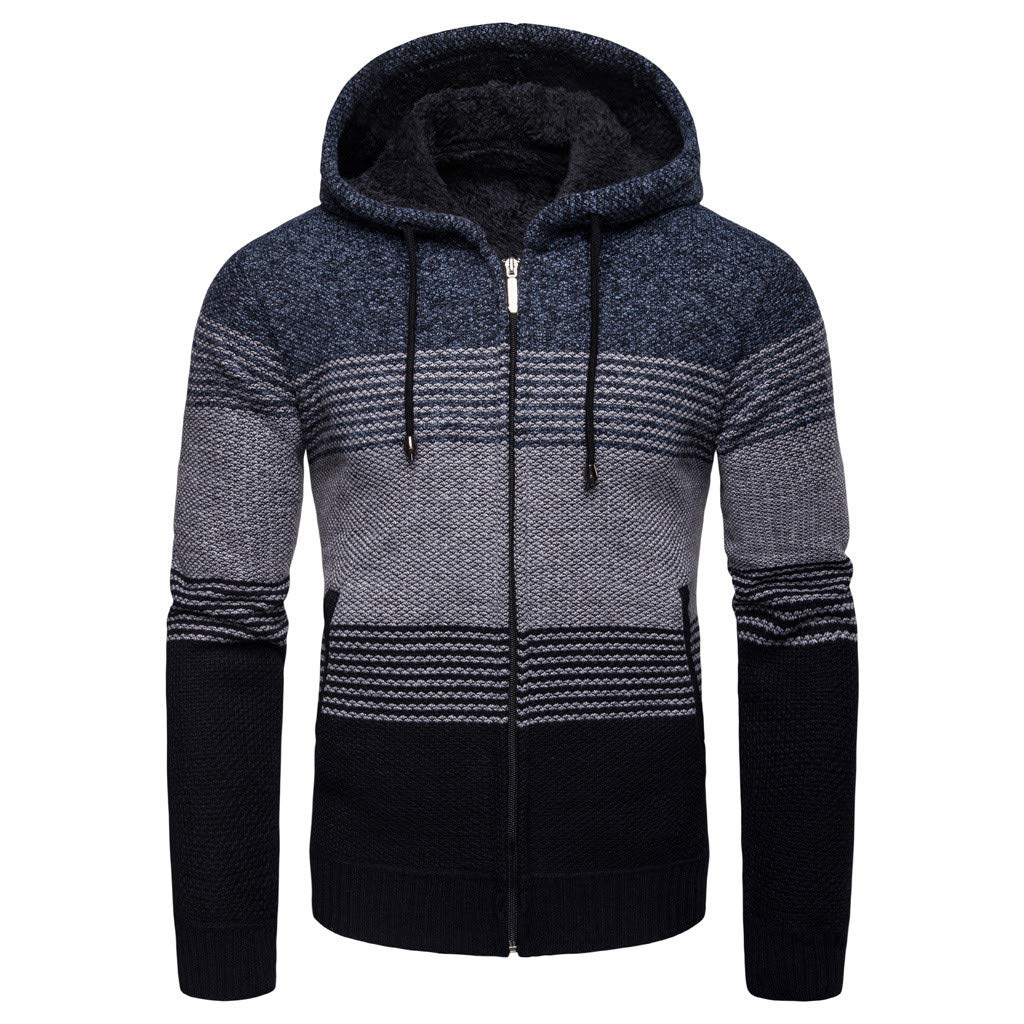 Opinionated Men's Casual Hoodies Solid Color Sports Pullover Soft Hooded Sweatshirt Outwear Sweater Blue by Opinionated