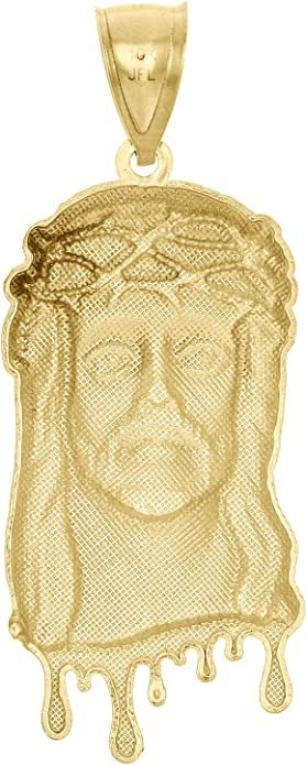 """10K Yellow Gold Fancy Statement Jesus Face Piece Pendant Blood Dripping Charm 2/"""""""