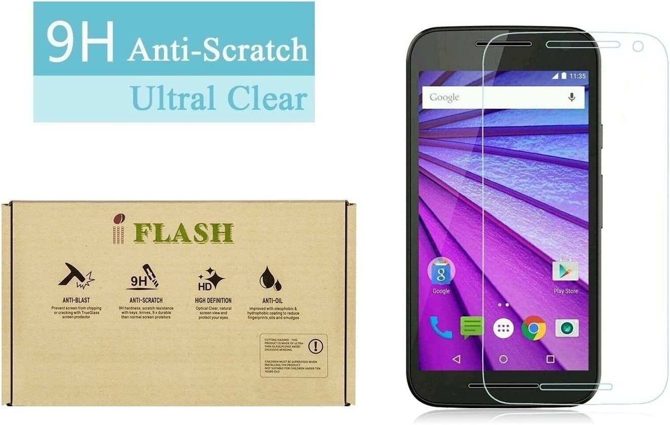 Amazon.com: iFlash Premium Tempered Glass Screen Protector: Crystal Clear &  Bubble Free 0.3mm thickness edition - For Motorola Moto G3/XT1541 (MOTO G  3rd Generation 2015 Model) - Retail Packaging