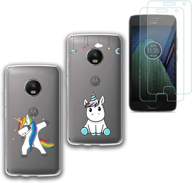jrester 2 X Funda Motorola Moto G5 Plus,Unicornio Suavee Silicona ...