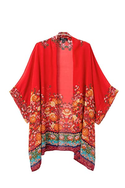 Amazon.com: De la Mujer Rojo de impresión Kimono parte ...