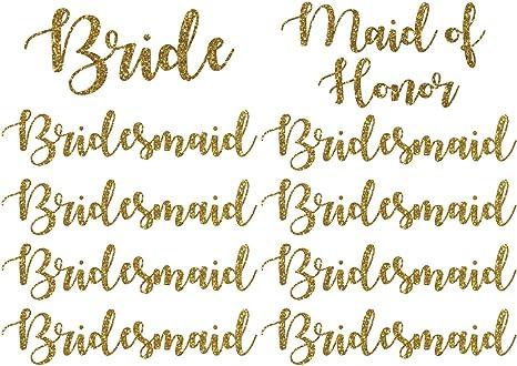 LOT OF 9 RHINESTONE WEDDING PARTY IRON ON  1 BRIDE 1 MAID OH HONOR 7 BRIDESMAID