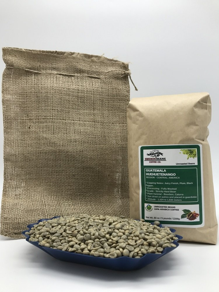 5 LBS – GUATEMALA HUEHUETENANGO (includes a FREE BURLAP BAG) Specialty-Grade, CURRENT-CROP Green Unroasted Coffee Beans – Strictly Hard Bean – Processing Fully Washed – High Altitude Farms
