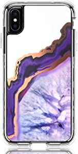 BAISRKE iPhone Xs Max Case, Shiny Rose Gold Marble Heavy Duty Hybrid 3-Layer Full-Body Protect Case Cover for iPhone Xs Max [6.5 inch] - Purple Agate