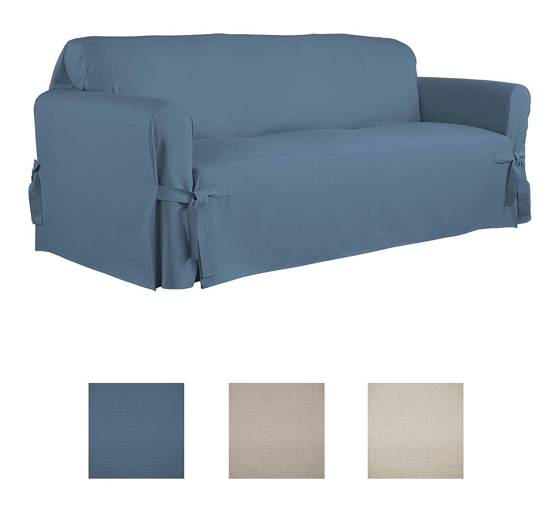 Serta | Relaxed Fit Durable Woven Linen Canvas Furniture Slipcover (Sofa,  Indigo)