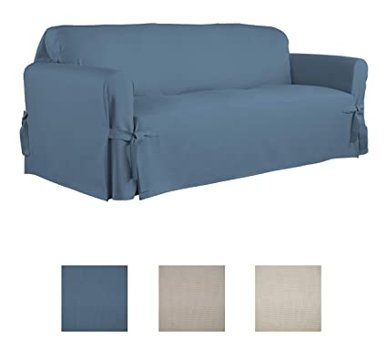 Serta | Relaxed Fit Durable Woven Linen Canvas Furniture Slipcover (Sofa,  Indigo)