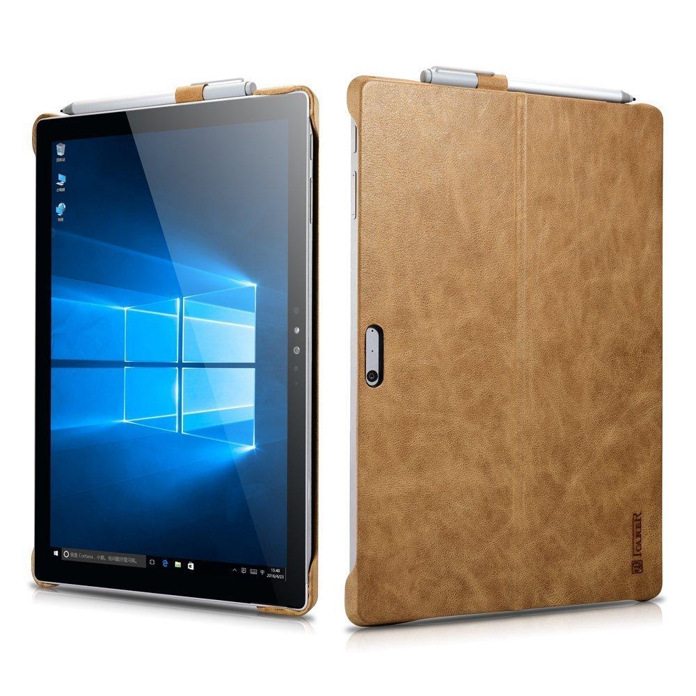 Aroko Microsoft Surface Pro 4ケース、豪華シリーズ本革バックカバーペンホルダーとスタンド機能付きMicrosoft Surface Pro 4 12.3インチ、 B01MD1GW1I