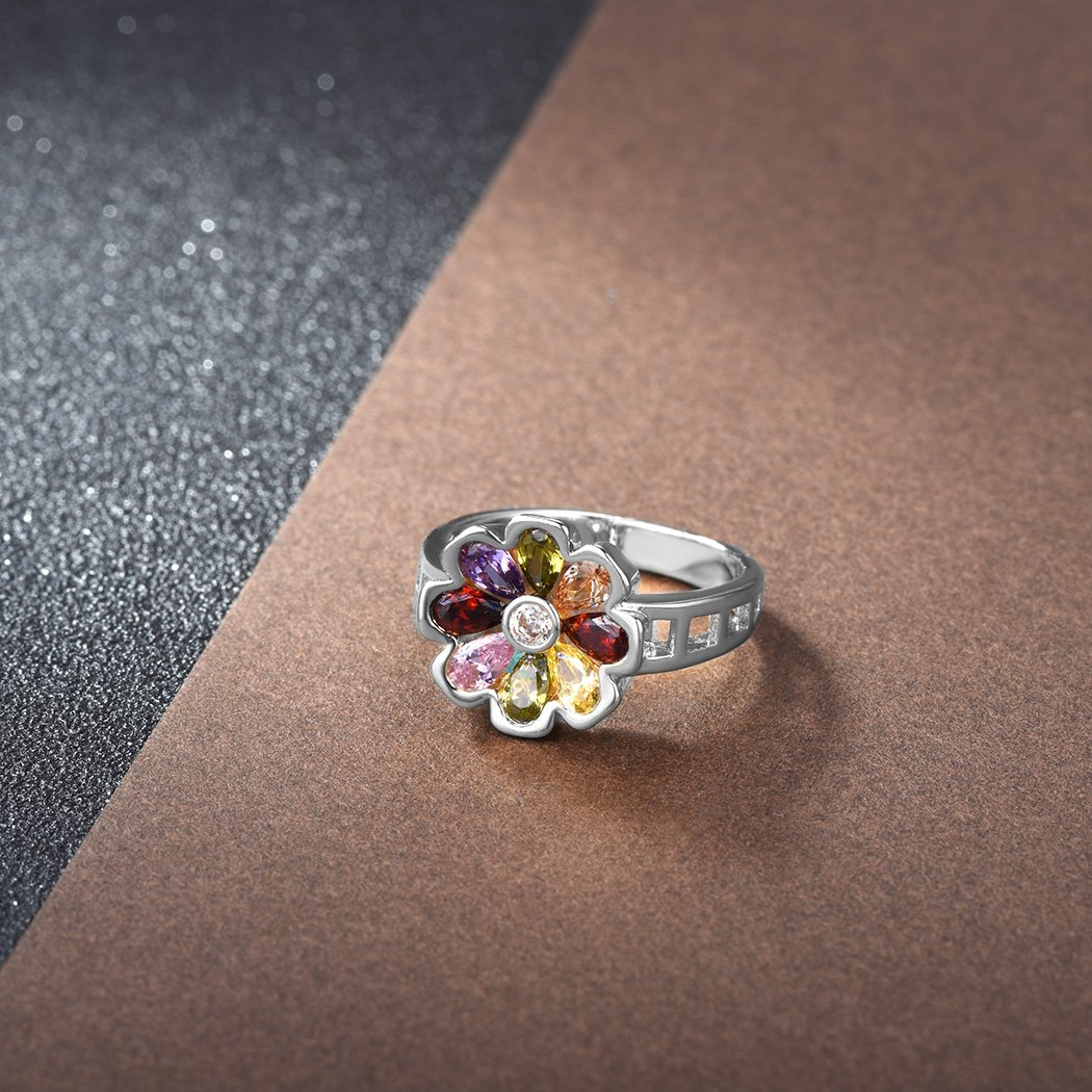 Suplight Multicolor Flower Cocktail Engagement Ring Gold//Platinum Plated Size 6-11