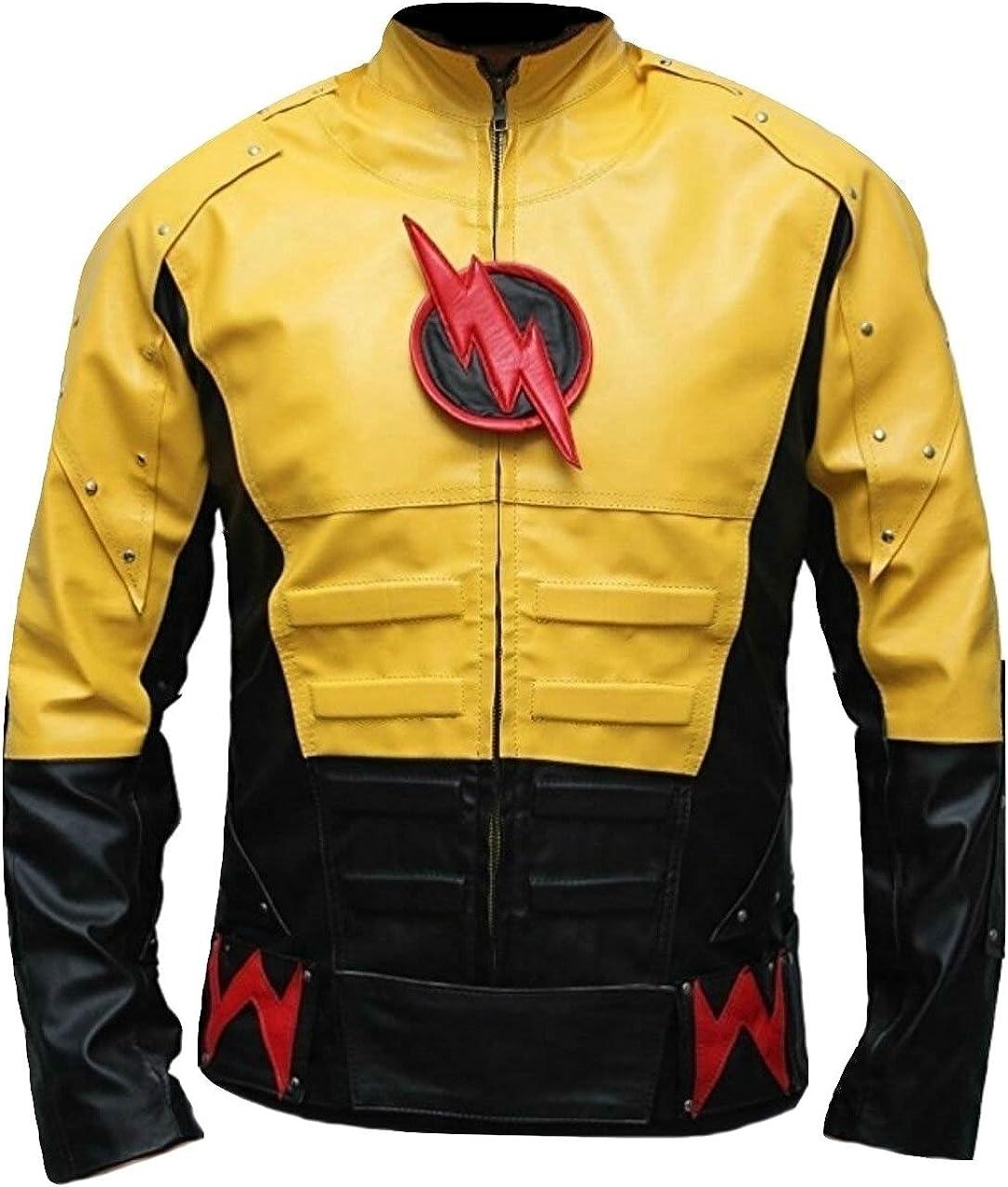 Bestzo Mens Fashion Reverse Flash Leather Jacket Multicolored