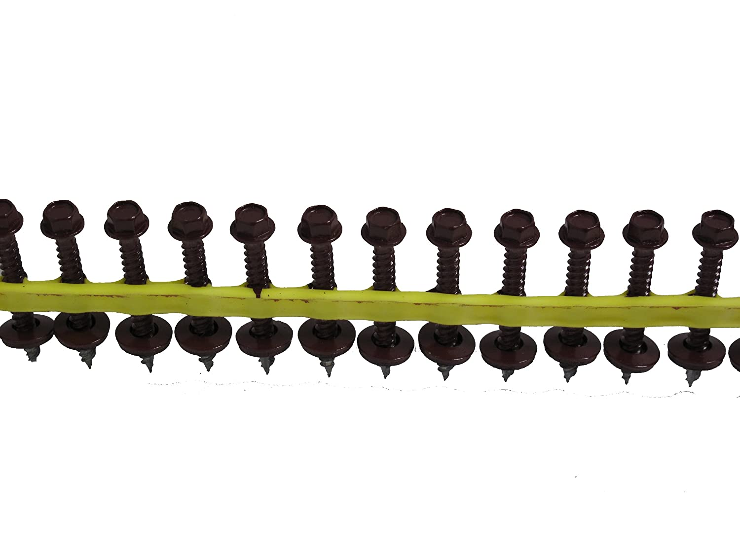 Quik Drive HG112WSBURGUNDY Metal Roofing and Siding Screw Burgundy Painted 1//4-Inch Hex Drive by 1 1//2-Inch with EPDM-Backed Washer