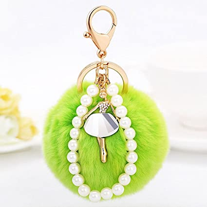 Image Unavailable. Image not available for. Color  Womens Elegant Ballet  Girl Fluffy Fur Ball Keychain Pearl Key Chain Key Ring Fur Bag Charm c3f02ea766fe9