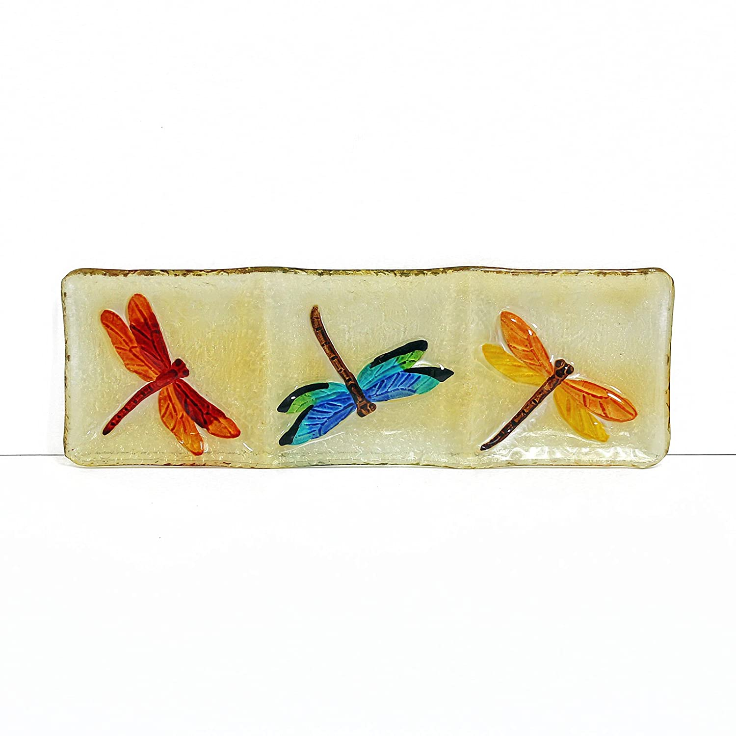WELLAND Hand Painted Decorative Glass Platter Dragonfly Pattern 9X9X1