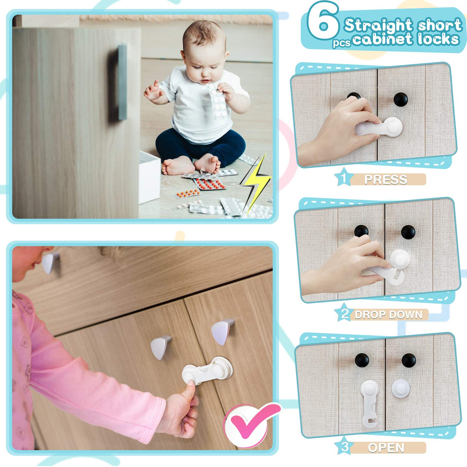 4 Locks + 5 Auxiliary + 1 Key 4 Door Stopper Guards 36 Pieces Baby Safety Protection Set 12 Clear Corner Protectors Jojoin Child Proofing Kit 10 Safety Cabinet Locks Magnetic Cupboard Locks Set