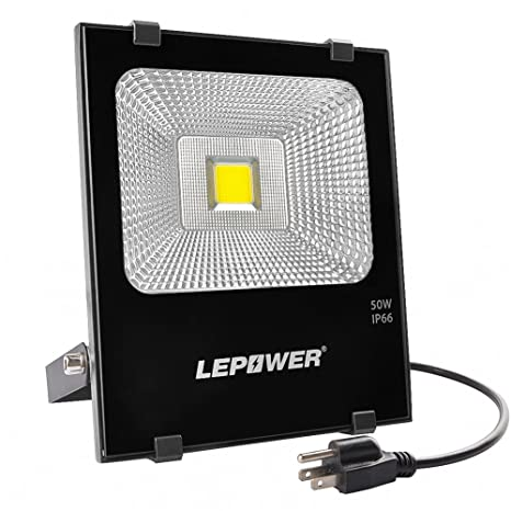 Lepower 50w Led Flood Light Outdoor 4000lm Super Bright Work Light 250w Halogen Bulb Equivalent 6000k White Light Ip66 Waterproof Outdoor Flood