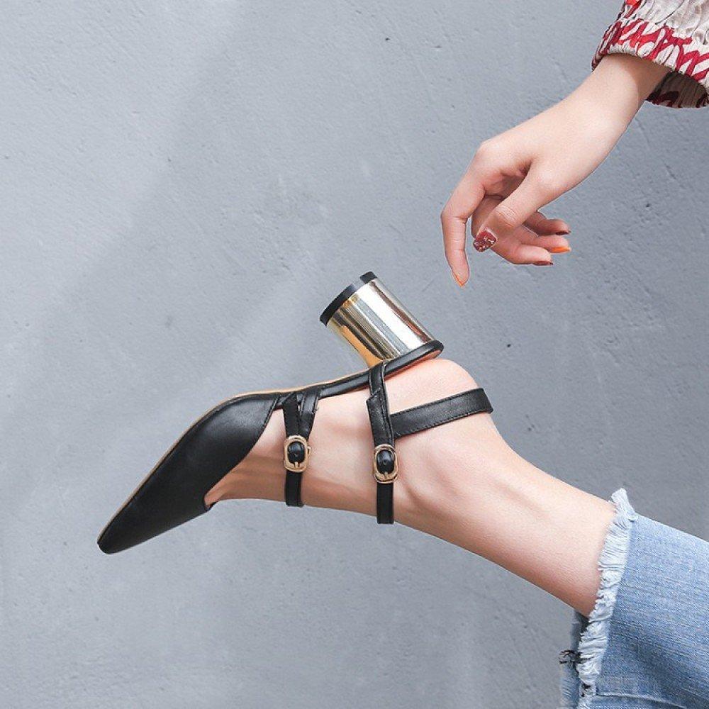 WLG Sommermode Neue Baotou Nach Dem Gürtel mit Einem Halben Drag Vollleder Weibliche Sandaleen überzogen Rau mit 6cm