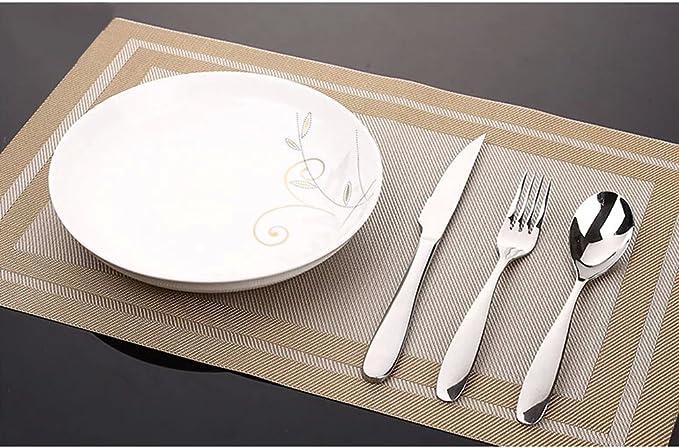 Elegante francés país estilo color sólido pvc mesa colocación Mat Anti skidding alfombrillas de comedor, Juego de 4: Amazon.es: Hogar