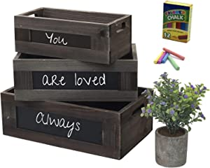 Rustic Wooden Basket Crates for Storage with Chalkboard and Artificial Plant, Farmhouse Home Decor, Kitchen and Living Room Organizer, Indoor Window Garden Display - Brown, Set of 3