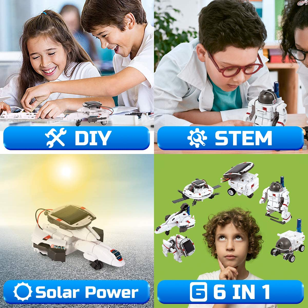 6 in 1 STEM Learning Educational Toys Space Moon Exploration Fleet Building Experiment Toys GILOBABY Solar Robot Kit DIY Science Kit for Boys Girls Age 8+