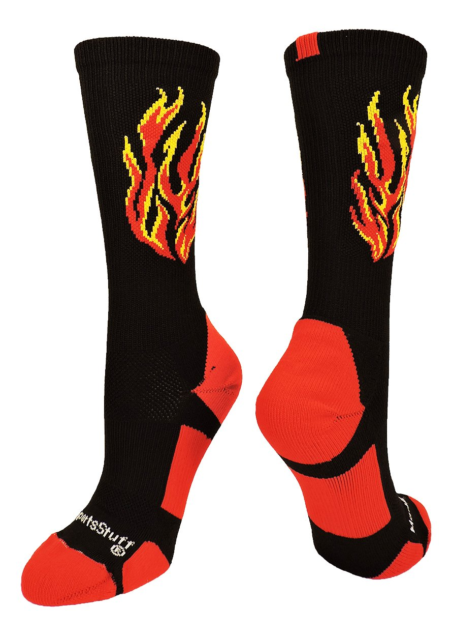 MadSportsStuff Flame Athletic Crew Socks (Black/Red/Gold, Small)