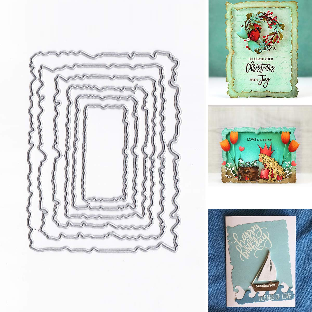 SODIAL 6pcs//t Vintage Torn Rectangle Frame Metal Cutting Dies DIY Scrapbooking Photo Album Embossing Paper Cards Decorative Craft