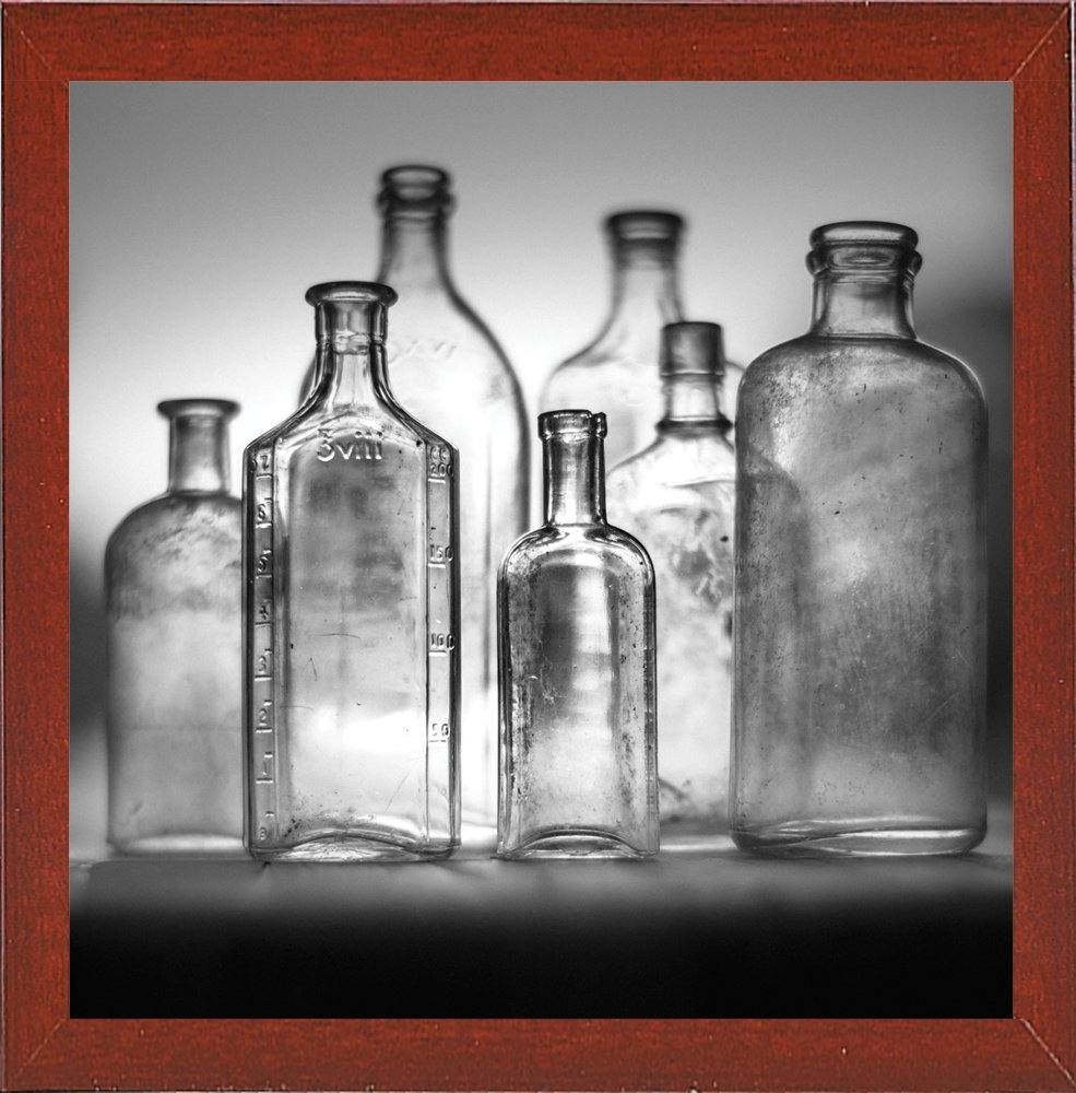Frame USA 7 Botellas 4-2 Framed 35.4x35.4 by Moises Levy-MOILEV143272 Print 35.4x35.4 Affordable Red Mahogany Medium
