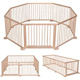Costway Baby Wooden Playpen Kid Children Child Play Pen Room Divider 12 Poles/bars Sided (8 panel)