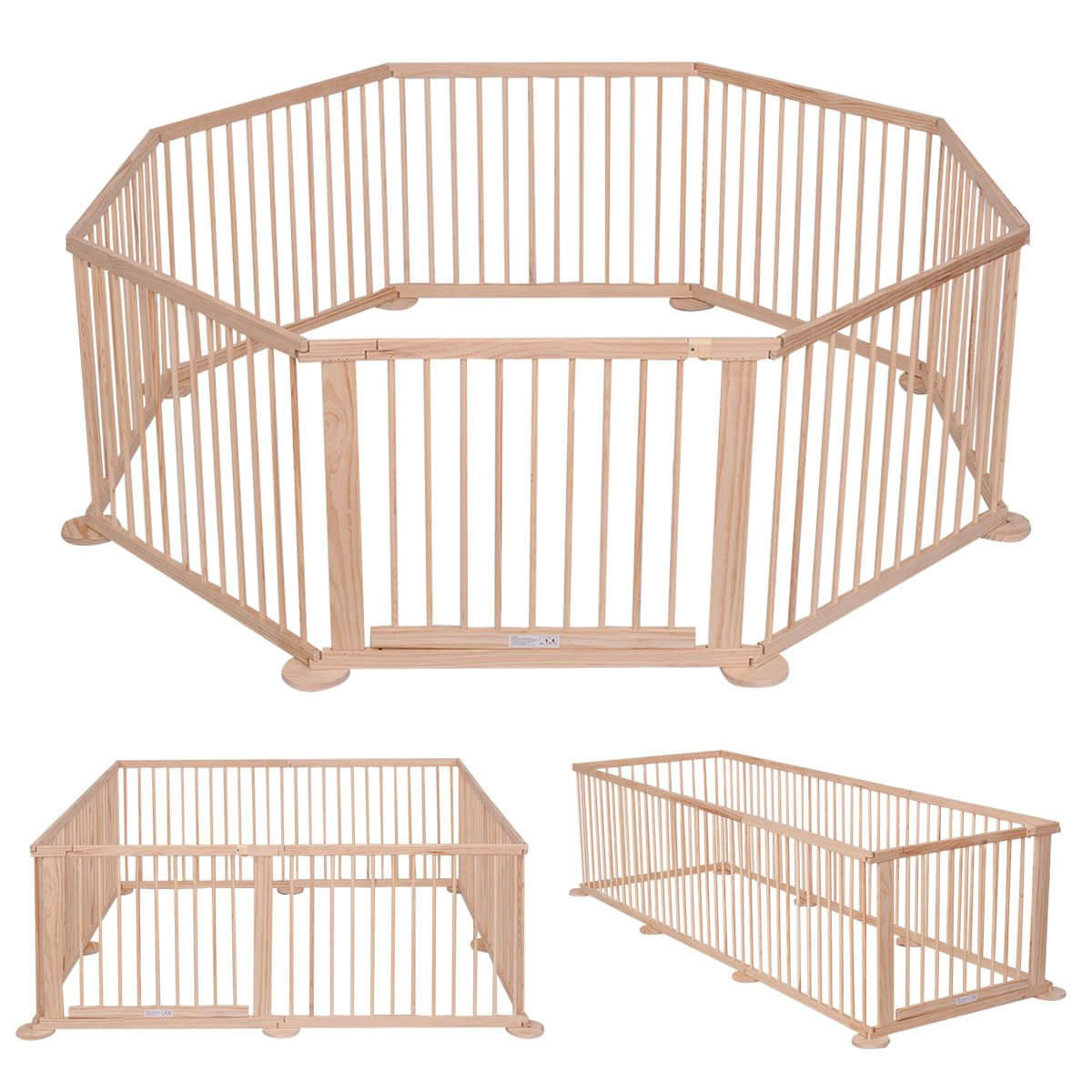 COSTWAY Baby Playpen Wooden Foldable Children Kids Child 12 Poles/Bars Play Pens Room Divider Heavy Duty (6 Panels) 2664BBNEW