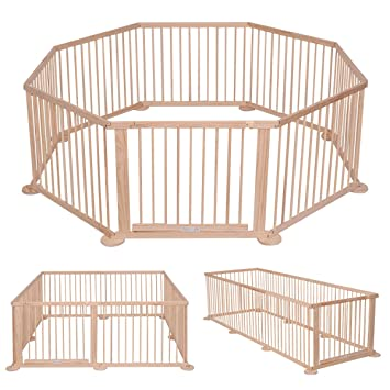 Costway Baby Wooden Playpen Kid Children Child Play Pen Room Divider 12  Poles/bars Sided