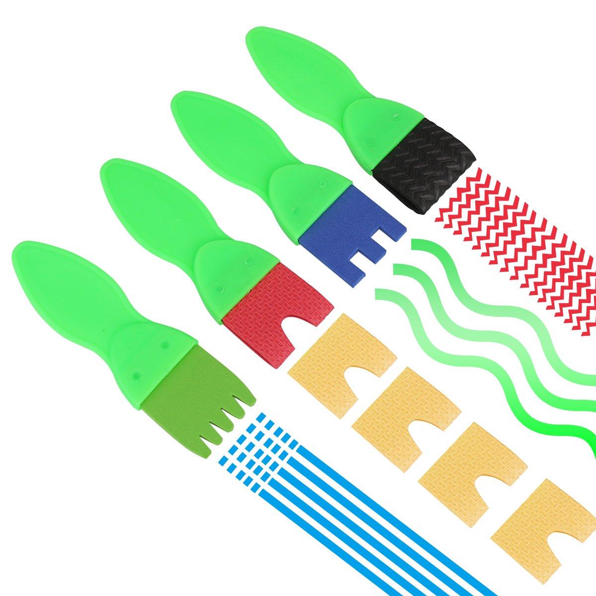 kakakooo 18 PCS ni/ños Pintura Pinceles Set ni/ños Esponja Dibujo Arte Bricolaje Herramientas con Paleta y Delantal Pintura Rodillos Lindo