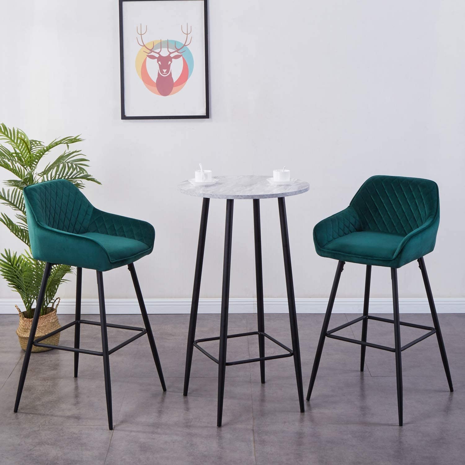 Jymtom Bar Stools Set of 9 Kitchen Chairs with Backrest, Footrest, Armrests  Metal Counter Stool
