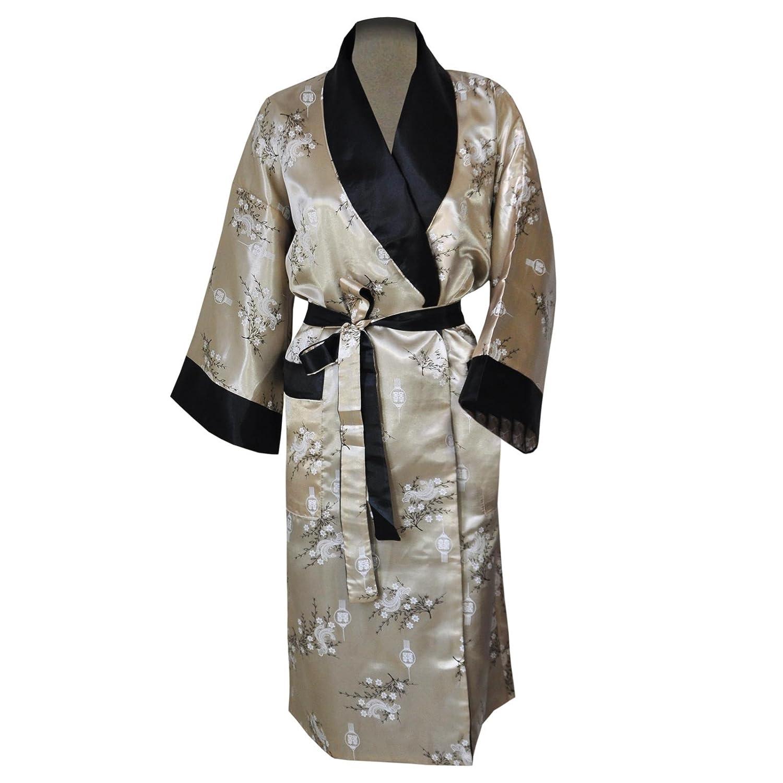 Chimono in raso reversibile, accappatoio, vestaglia, origine Tailandia - Beige/nero