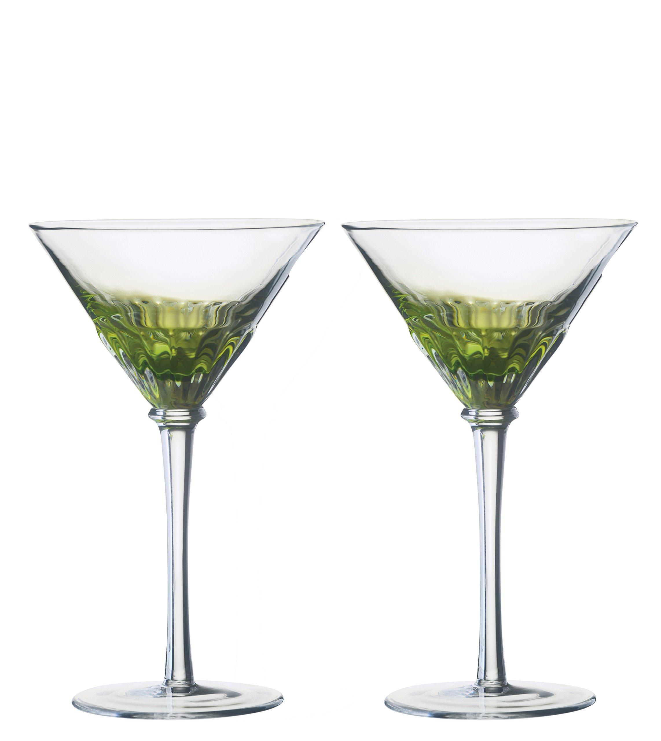 DRH Anton Studios Solar Set of 2 Martini Cocktail Glasses in Green