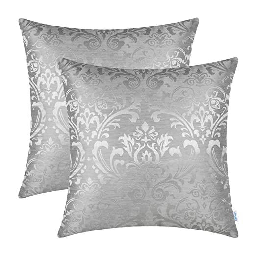 CaliTime Fundas para Cojines Pack de 2 Fundas de Almohadas de Tiro Damasco Vintage Floral Brillante y Opaco Contraste 45 cm x 45 cm Gris Plateado