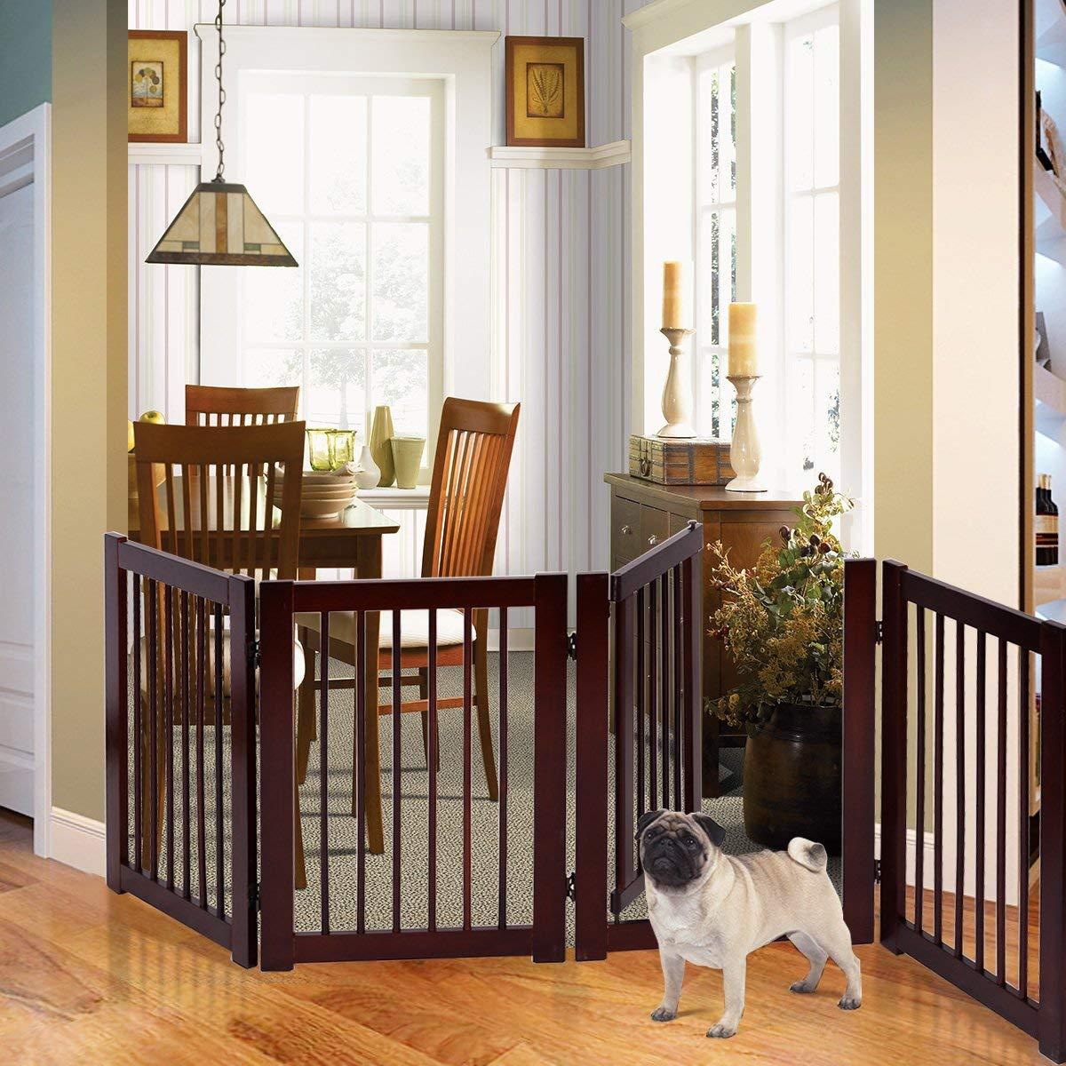 Petsite 30 H Pet Gate with Walk Through Door, Indoor Outdoor Baby Gate, Wooden Pet Playpen, Folding Adjustable Panel Safety Gate for Corridor, Doorway, Stairs, Extra Wide, Cerise Finish, 80 W