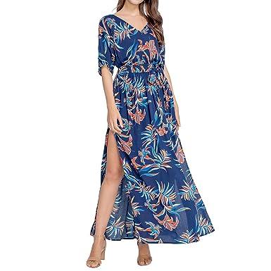 0faeab7fad JTANIB Women's Boho V-Neck Split Vintage Print Tie-Waist Beach Party Maxi  Dress
