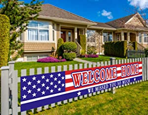 Colormoon Large Welcome Home Banner, Deployment Returning Party Supplies, Military Army Homecoming Party Decorations, Sweet Home Decor (9.8 x 1.5 feet)