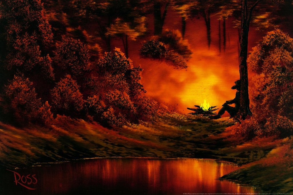 Poster Foundry Bob Ross Campfire Art Print Painting Matted Framed Wall Art 20x26 inch 249151