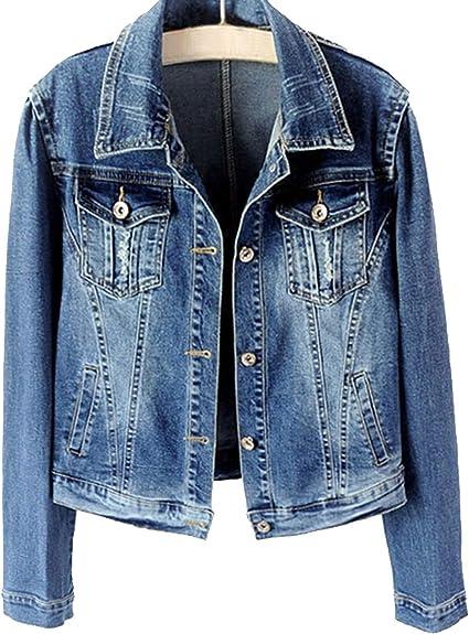 Mens Casual Blue Faded Stretch Denim Jacket Jeans Jacket Sizes S M L XL XXL