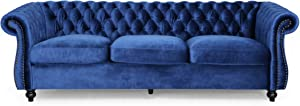 Christopher Knight Home Vita Tufted Microfiber Sofa with Scroll Arms, Navy Blue, Dark Brown