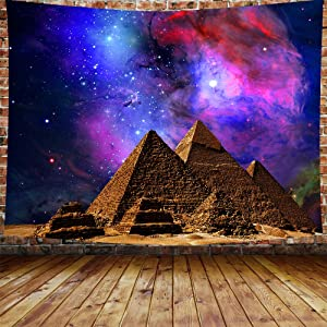 DBLLF Sacred Pyramid Tapestry Egypt Travel Tapestry Starry Sky Tapestry,Queen Size 80