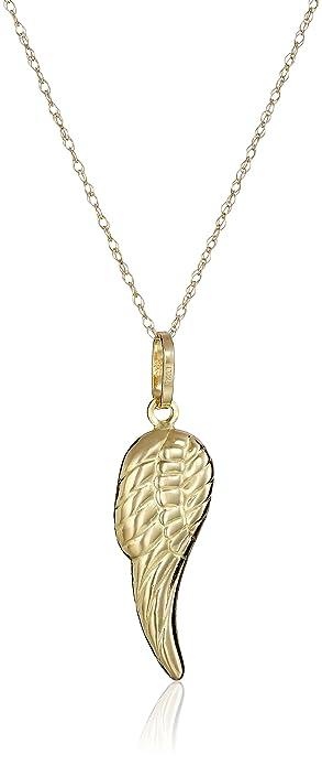 Amazon 14k yellow gold angel wing pendant necklace 18 jewelry 14k yellow gold angel wing pendant necklace 18quot aloadofball Choice Image