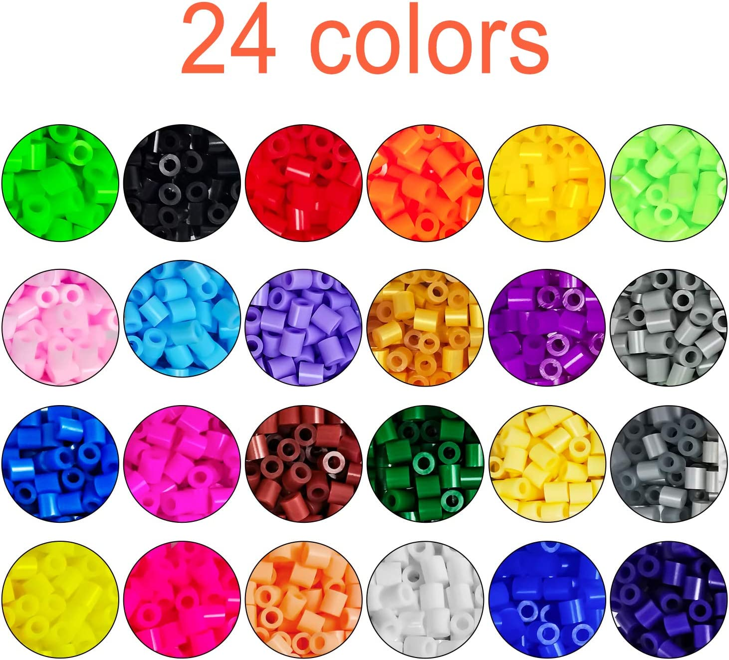 2200 Fuse Beads Set OUNENO 5mm 24 Colors Fuse Beads Kits Including 2 Perler Boards 2 Tweezers 4 Ironing Papers for Perler Beads