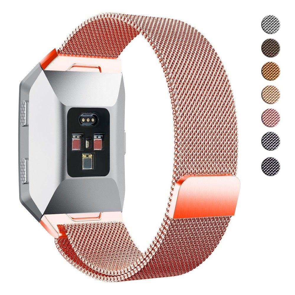 Fitbit IonicバンドSmall Large、alritzステンレススチールミラネーゼループバンドwith Magnetic Clasp、交換用アクセサリーストラップブレスレットfor Fitbit Ionic Smart Watch煙、ブラック、グレー、Burntオレンジ  コーラル Large (6.7 8.1 in) B076SLM5GF