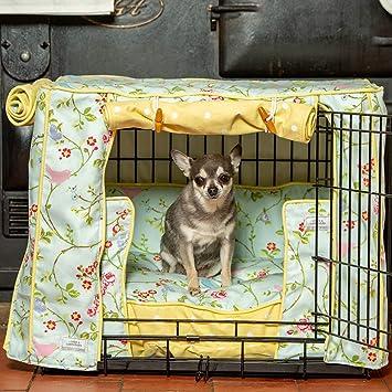 Lords & Labradors Perro Crate, y Funda de cojín en Color Verde pájaro Trail y