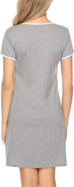 Weiches und Bequemes Material Sykooria Nachthemd Damen Kurzarm Baumwolle Sommer Nachtw/äsche Nachtkleid Katzen Druck Rundhalsausschnitt Sleepshirt mit 2 Taschen