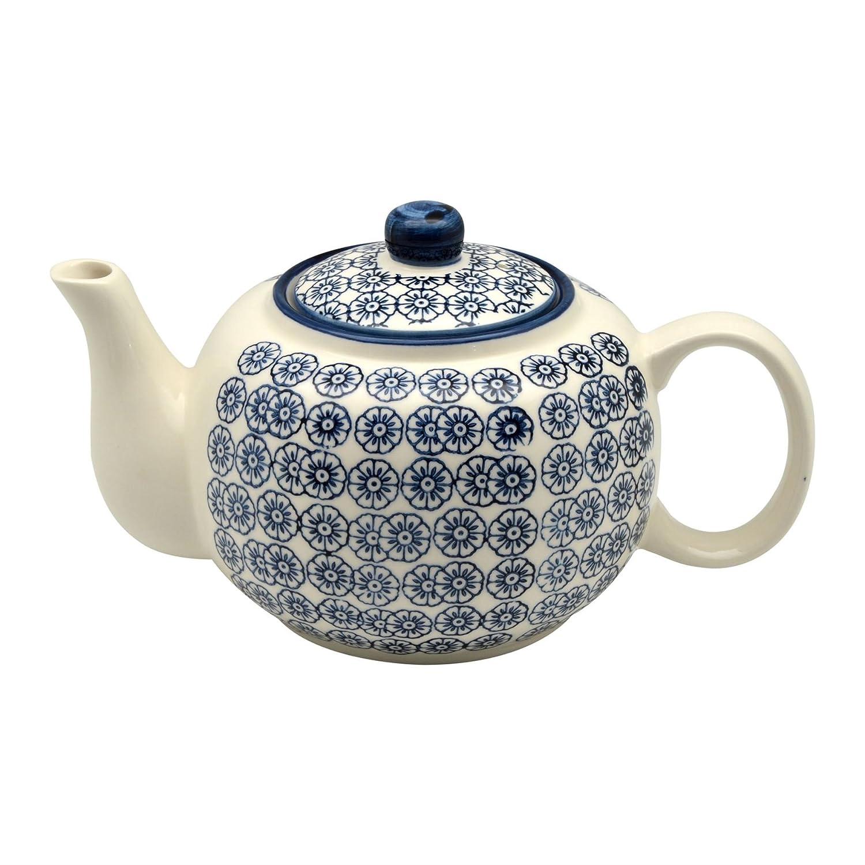 Nicola Spring Patterned Porcelain Teapot - 820ml (27.7oz) - Blue Flower Print Design