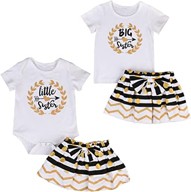 Camidy Baby Toddler Girls Matching Outfits Set Sisters Stripe Top Strap Skirt Headband