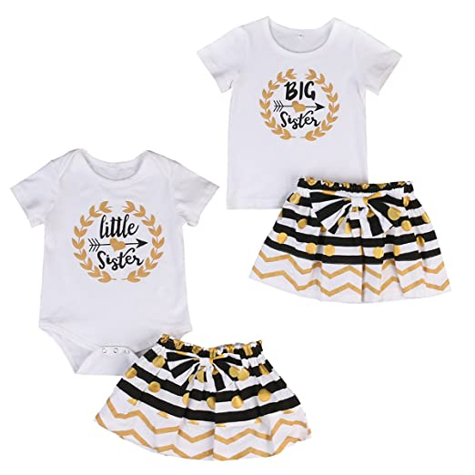Amazon.com  Infant Toddler Girls Matching Tops + Stripe Dots Skirt Outfits  Clothes Set  Clothing b5b36e8654